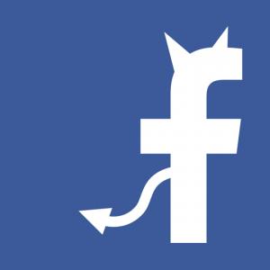Facebook logo voorzien van duivelse hoorntjes en staart.